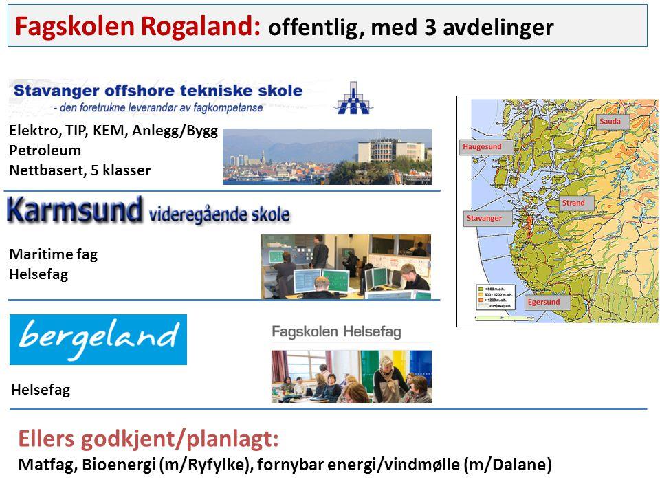 Fagskolen Rogaland: offentlig, med 3 avdelinger Elektro, TIP, KEM, Anlegg/Bygg Petroleum Nettbasert, 5 klasser Maritime fag Helsefag Ellers godkjent/planlagt: Matfag, Bioenergi (m/Ryfylke), fornybar energi/vindmølle (m/Dalane)