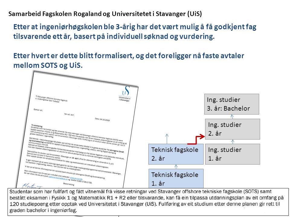 Samarbeid Fagskolen Rogaland og Universitetet i Stavanger (UiS) Etter at ingeniørhøgskolen ble 3-årig har det vært mulig å få godkjent fag tilsvarende ett år, basert på individuell søknad og vurdering.