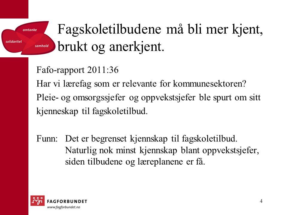 Fagskoletilbudene må bli mer kjent, brukt og anerkjent. Fafo-rapport 2011:36 Har vi lærefag som er relevante for kommunesektoren? Pleie- og omsorgssje