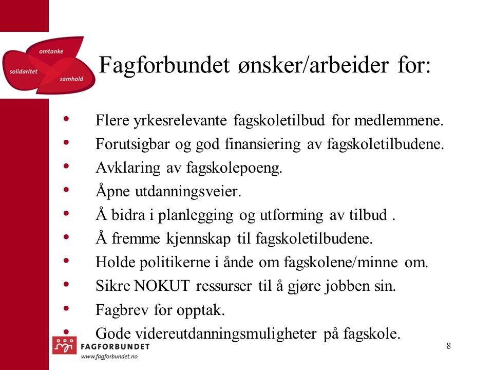 Fagforbundet ønsker/arbeider for: Flere yrkesrelevante fagskoletilbud for medlemmene. Forutsigbar og god finansiering av fagskoletilbudene. Avklaring