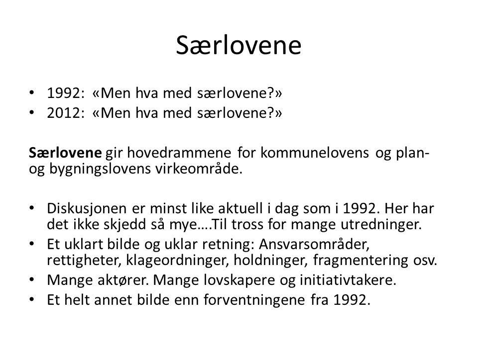 Særlovene 1992: «Men hva med særlovene?» 2012: «Men hva med særlovene?» Særlovene gir hovedrammene for kommunelovens og plan- og bygningslovens virkeo