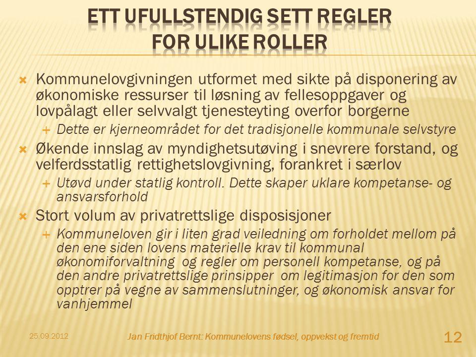  Kommunelovgivningen utformet med sikte på disponering av økonomiske ressurser til løsning av fellesoppgaver og lovpålagt eller selvvalgt tjenesteyti