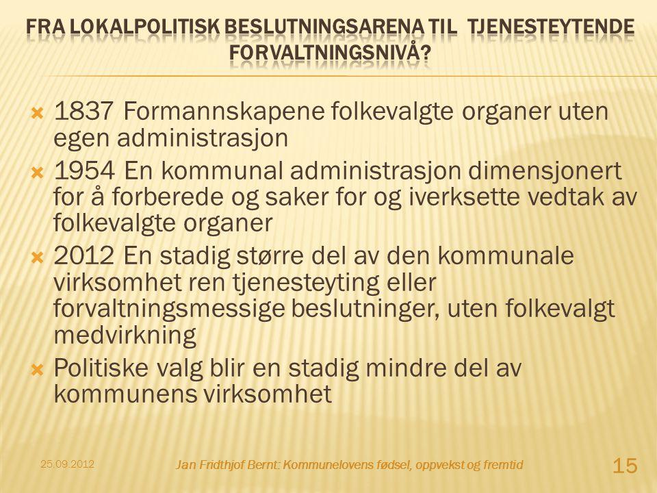  1837 Formannskapene folkevalgte organer uten egen administrasjon  1954 En kommunal administrasjon dimensjonert for å forberede og saker for og iver