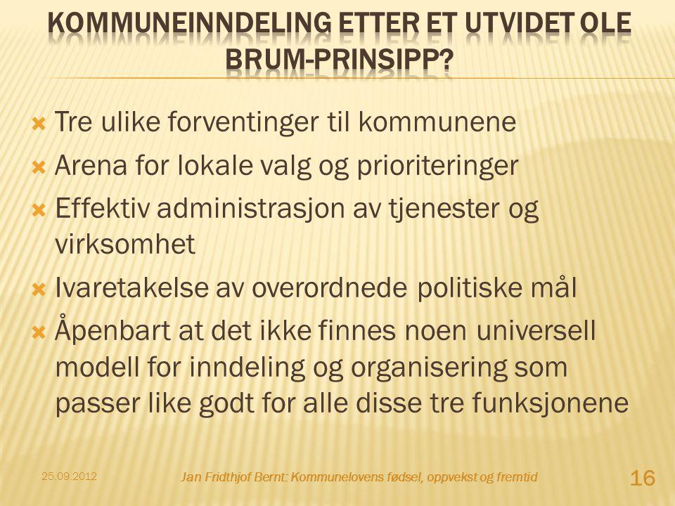  Tre ulike forventinger til kommunene  Arena for lokale valg og prioriteringer  Effektiv administrasjon av tjenester og virksomhet  Ivaretakelse a