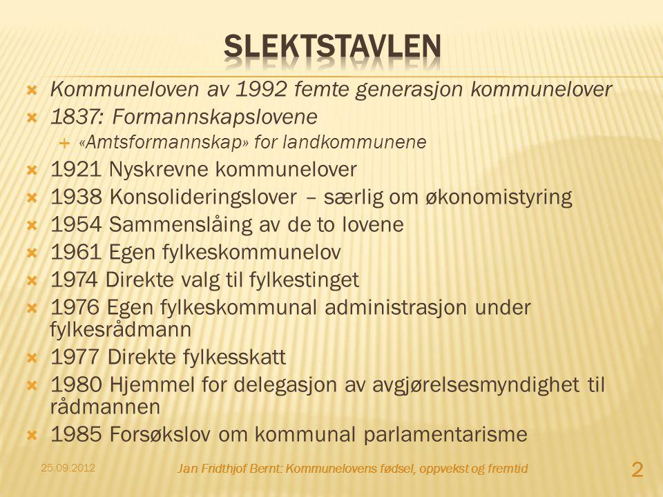  Kommuneloven av 1992 femte generasjon kommunelover  1837: Formannskapslovene  «Amtsformannskap» for landkommunene  1921 Nyskrevne kommunelover 