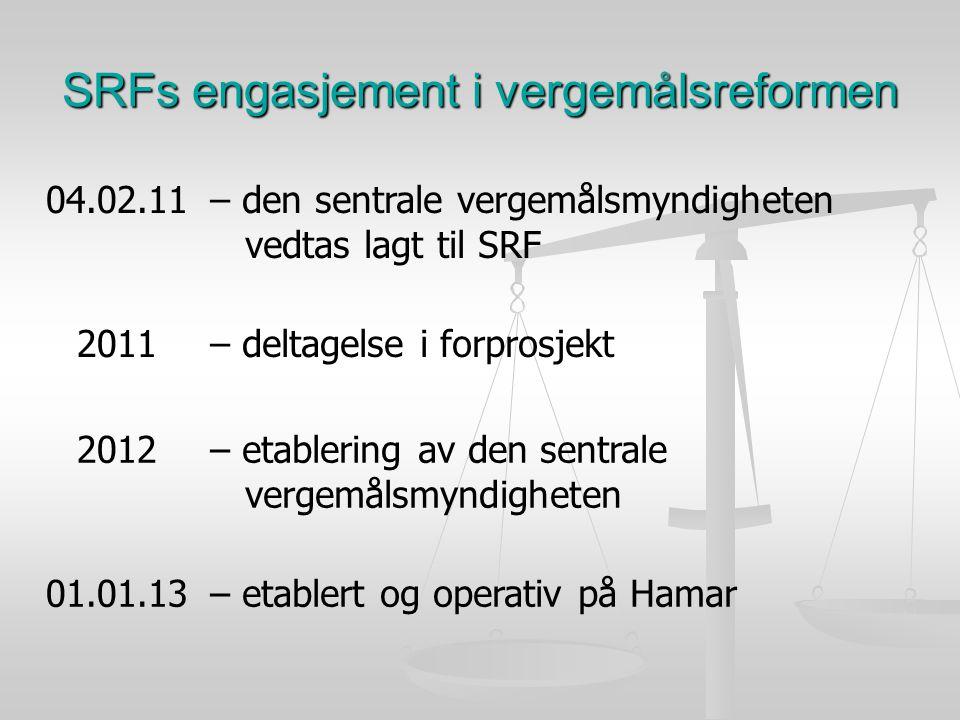 SRFs engasjement i vergemålsreformen 04.02.11– den sentrale vergemålsmyndigheten vedtas lagt til SRF 2011– deltagelse i forprosjekt 2012– etablering av den sentrale vergemålsmyndigheten 01.01.13– etablert og operativ på Hamar