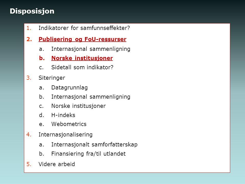 Disposisjon 1.Indikatorer for samfunnseffekter.