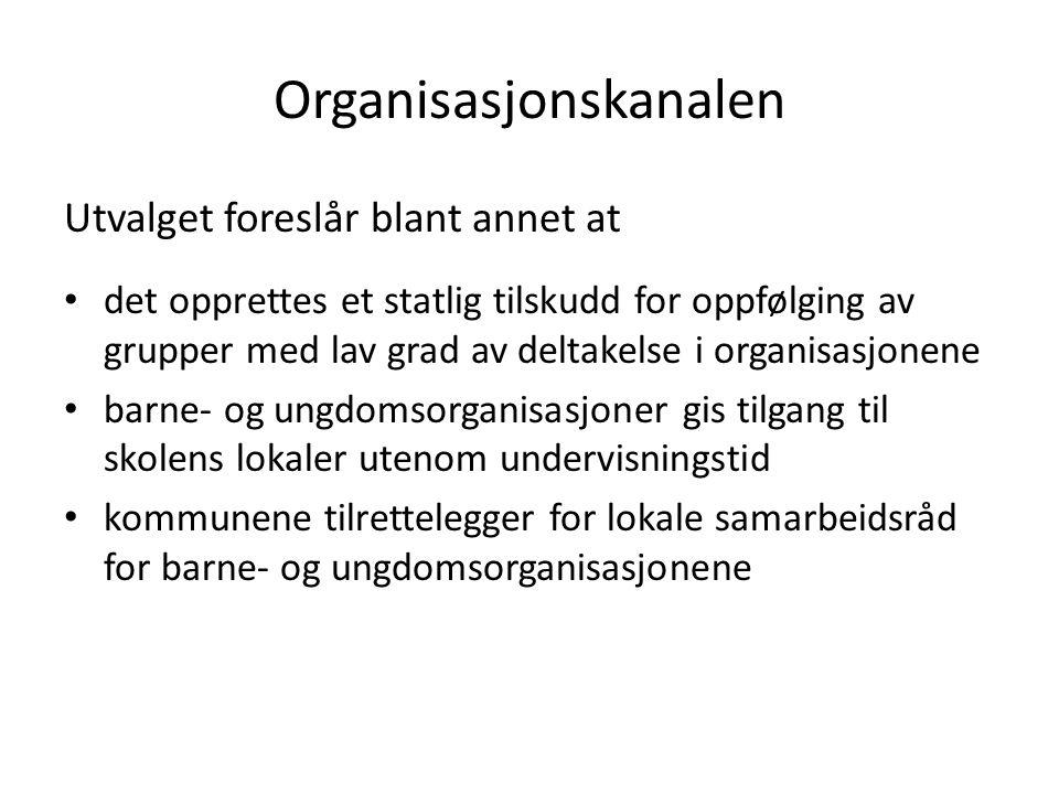 Organisasjonskanalen Utvalget foreslår blant annet at det opprettes et statlig tilskudd for oppfølging av grupper med lav grad av deltakelse i organis