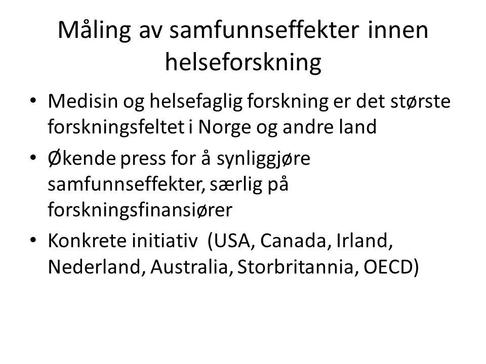 Måling av samfunnseffekter innen helseforskning Medisin og helsefaglig forskning er det største forskningsfeltet i Norge og andre land Økende press for å synliggjøre samfunnseffekter, særlig på forskningsfinansiører Konkrete initiativ (USA, Canada, Irland, Nederland, Australia, Storbritannia, OECD)