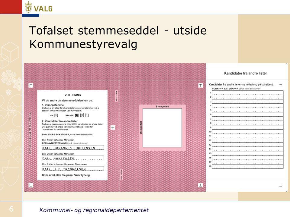 Kommunal- og regionaldepartementet 6 Tofalset stemmeseddel - utside Kommunestyrevalg