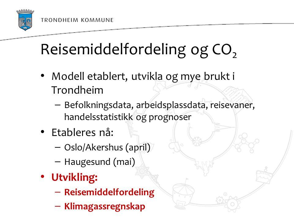 Reisemiddelfordeling og CO 2 Modell etablert, utvikla og mye brukt i Trondheim – Befolkningsdata, arbeidsplassdata, reisevaner, handelsstatistikk og p