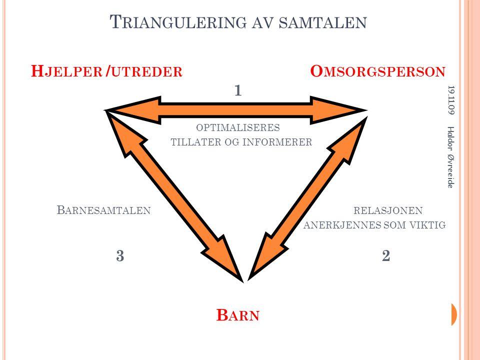 T RIANGULERING AV SAMTALEN H JELPER / UTREDER O MSORGSPERSON 1 OPTIMALISERES TILLATER OG INFORMERER B ARNESAMTALEN RELASJONEN ANERKJENNES SOM VIKTIG 3
