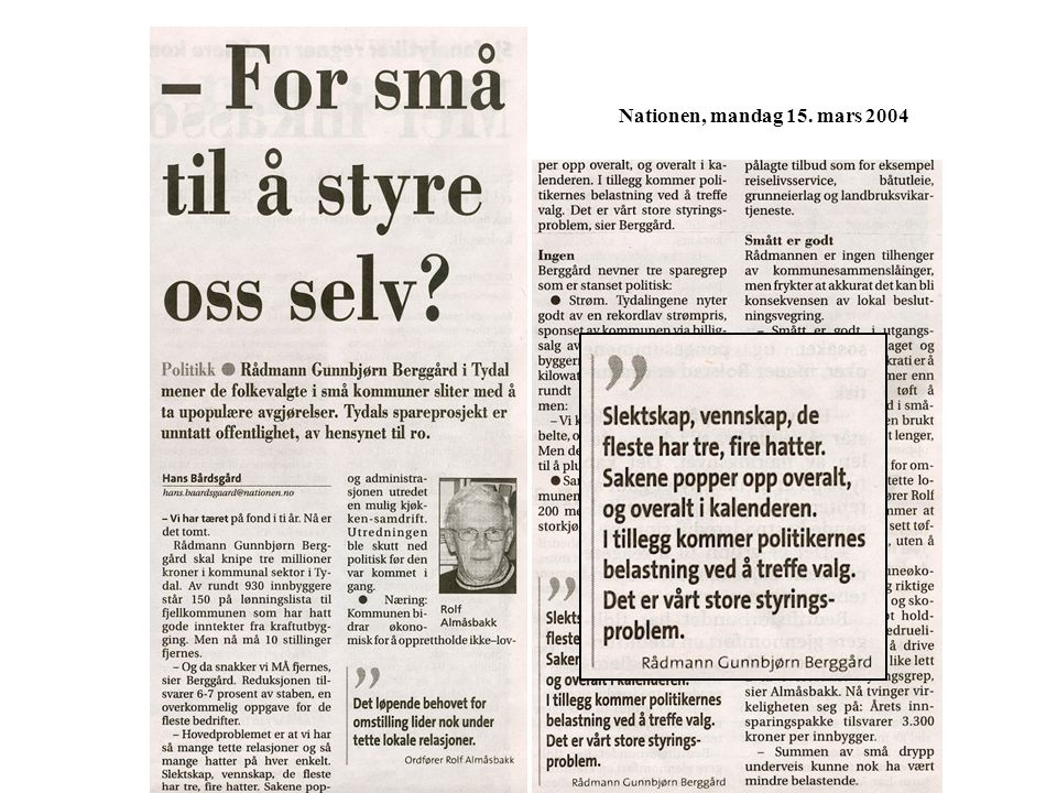 Nationen, mandag 15. mars 2004