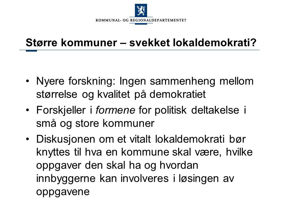 Større kommuner – svekket lokaldemokrati.
