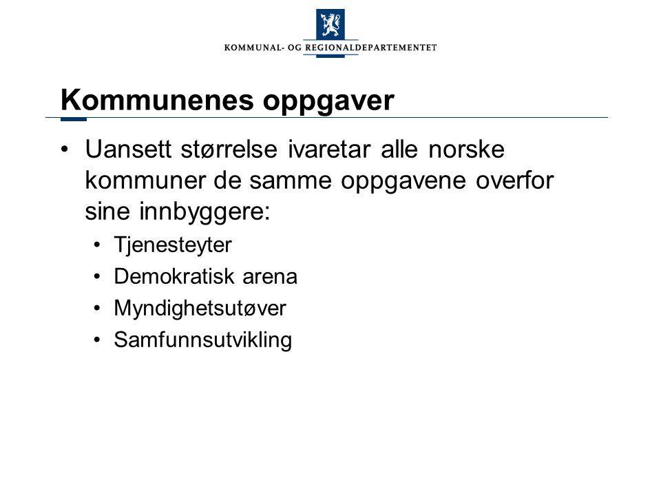 Kommunenes oppgaver Uansett størrelse ivaretar alle norske kommuner de samme oppgavene overfor sine innbyggere: Tjenesteyter Demokratisk arena Myndighetsutøver Samfunnsutvikling