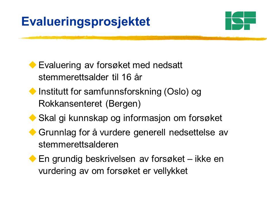 Evalueringsprosjektet uEvaluering av forsøket med nedsatt stemmerettsalder til 16 år uInstitutt for samfunnsforskning (Oslo) og Rokkansenteret (Bergen
