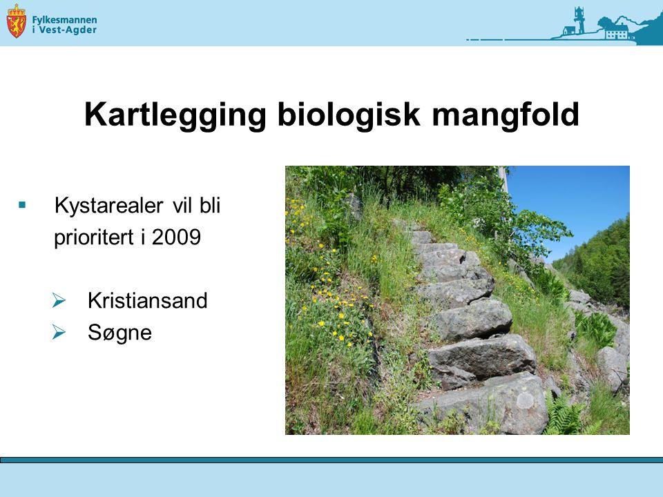 Kartlegging biologisk mangfold  Kystarealer vil bli prioritert i 2009  Kristiansand  Søgne