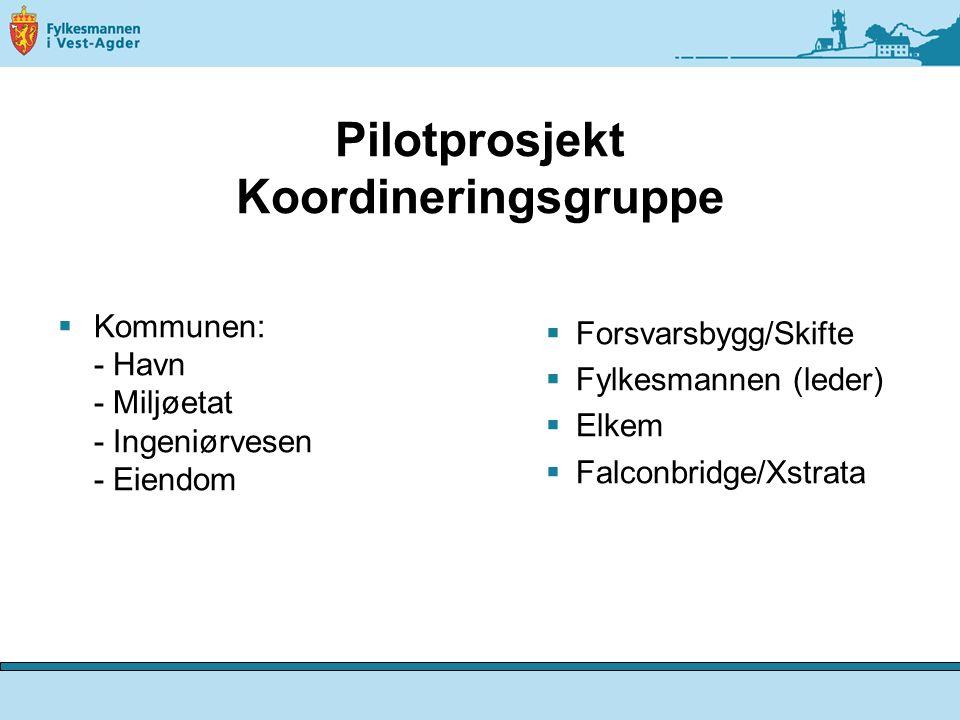 Pilotprosjekt Koordineringsgruppe  Kommunen: - Havn - Miljøetat - Ingeniørvesen - Eiendom  Forsvarsbygg/Skifte  Fylkesmannen (leder)  Elkem  Falconbridge/Xstrata