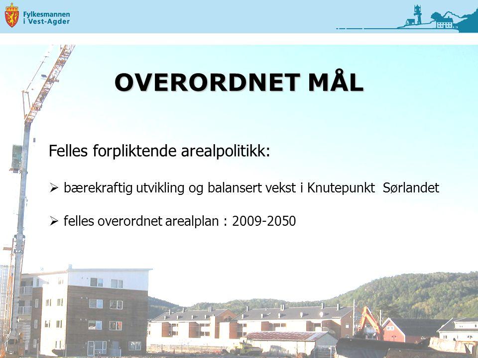 OVERORDNET MÅL Felles forpliktende arealpolitikk:  bærekraftig utvikling og balansert vekst i Knutepunkt Sørlandet  felles overordnet arealplan : 2009-2050