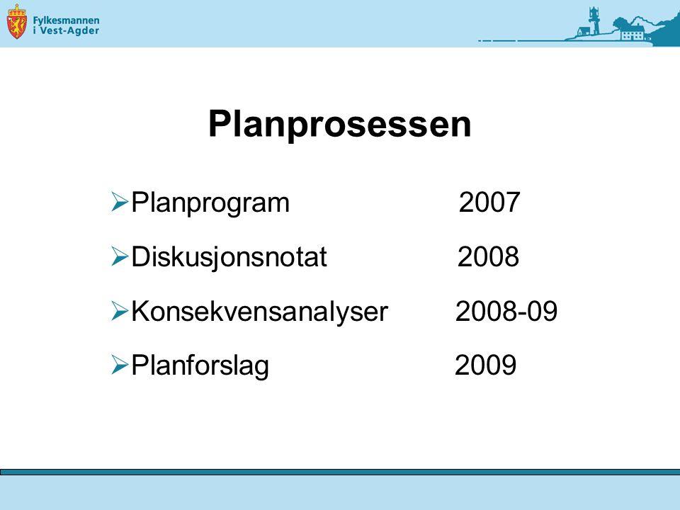 Planprosessen  Planprogram 2007  Diskusjonsnotat 2008  Konsekvensanalyser 2008-09  Planforslag 2009