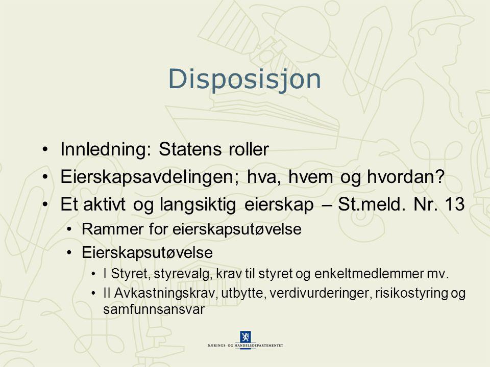 Disposisjon Innledning: Statens roller Eierskapsavdelingen; hva, hvem og hvordan.