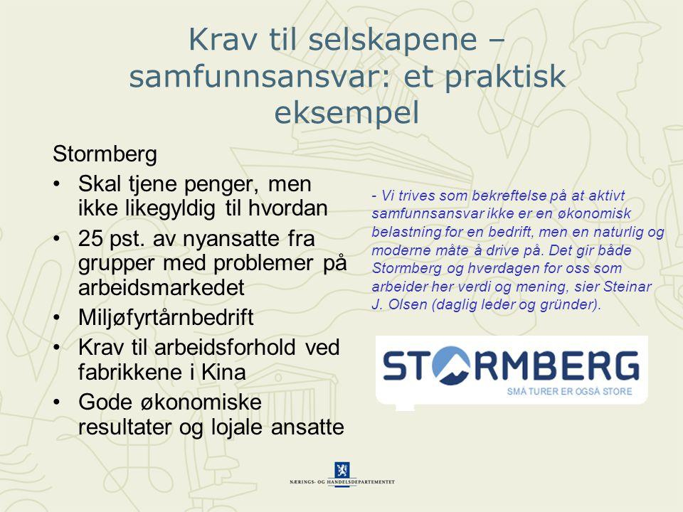 Stormberg Skal tjene penger, men ikke likegyldig til hvordan 25 pst.