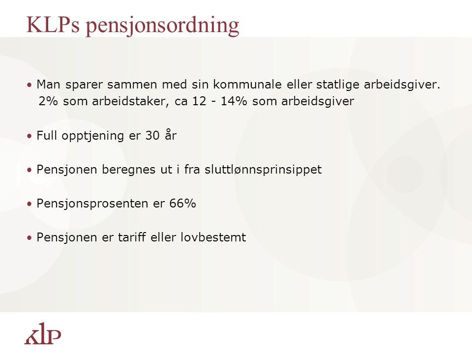 Folketrygden Man sparer via skatteseddelen. Man får godskrevet all pensjonsgivende inntekt, ikke bare den som er registrert i KLP Full opptjening er 4