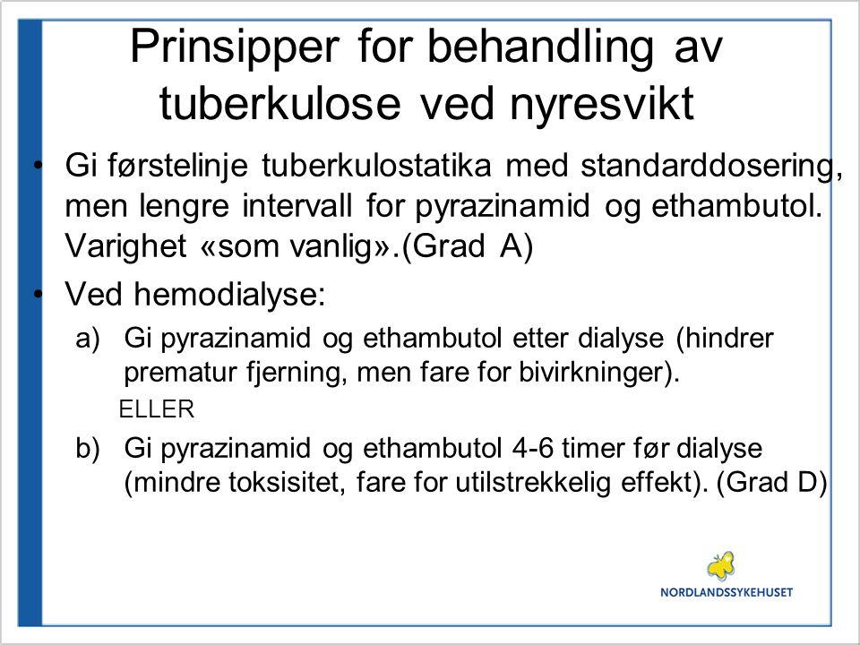 Prinsipper for behandling av tuberkulose ved nyresvikt Gi førstelinje tuberkulostatika med standarddosering, men lengre intervall for pyrazinamid og ethambutol.