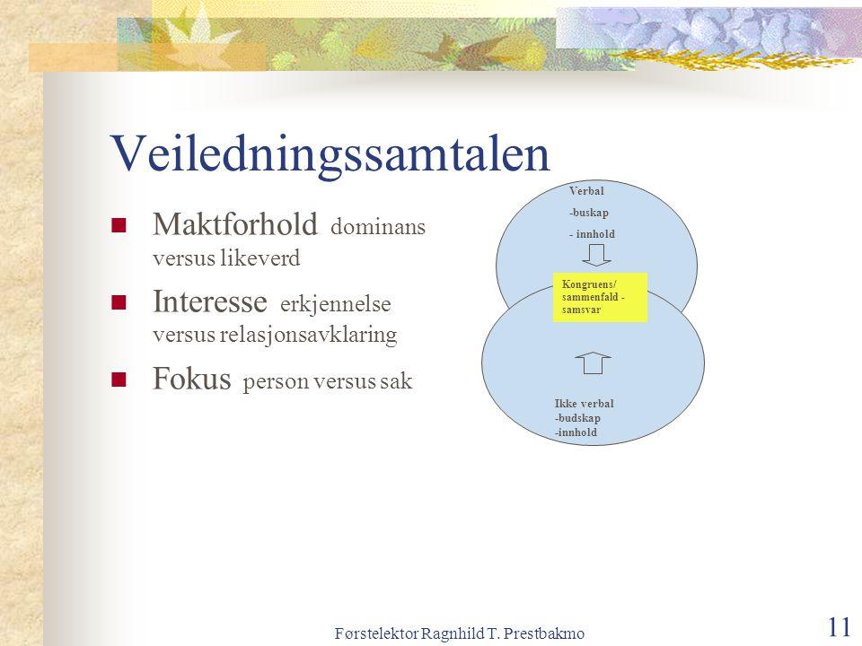 Førstelektor Ragnhild T. Prestbakmo 11 Veiledningssamtalen Maktforhold dominans versus likeverd Interesse erkjennelse versus relasjonsavklaring Fokus