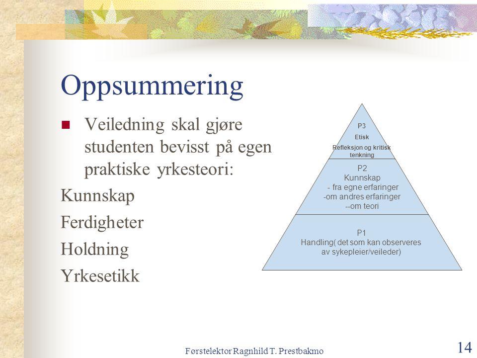 Førstelektor Ragnhild T. Prestbakmo 14 Oppsummering Veiledning skal gjøre studenten bevisst på egen praktiske yrkesteori: Kunnskap Ferdigheter Holdnin