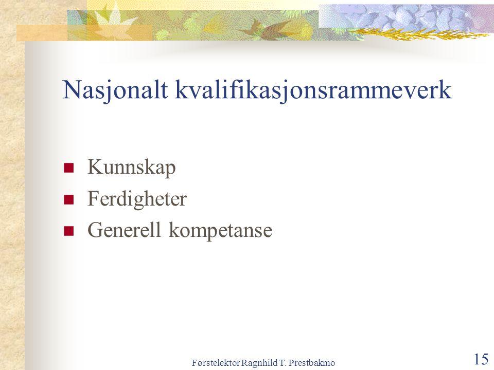 Førstelektor Ragnhild T. Prestbakmo 15 Nasjonalt kvalifikasjonsrammeverk Kunnskap Ferdigheter Generell kompetanse