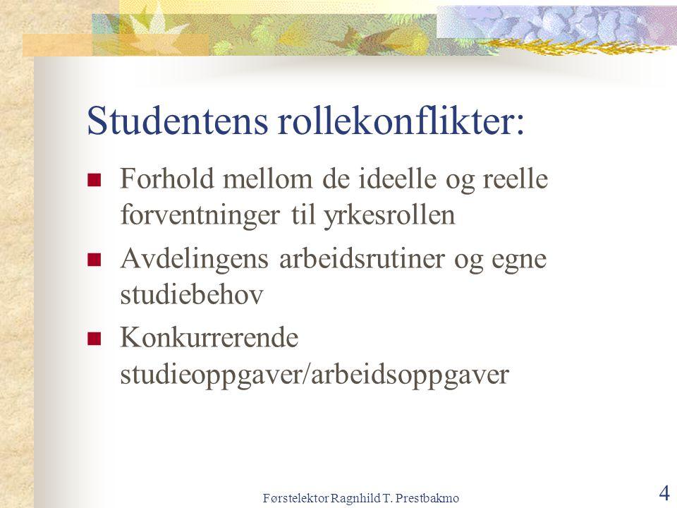 Førstelektor Ragnhild T. Prestbakmo 4 Studentens rollekonflikter: Forhold mellom de ideelle og reelle forventninger til yrkesrollen Avdelingens arbeid