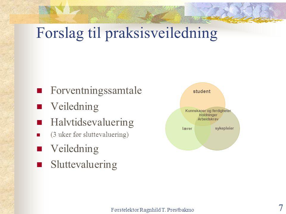 Førstelektor Ragnhild T. Prestbakmo 7 Forslag til praksisveiledning Forventningssamtale Veiledning Halvtidsevaluering (3 uker før sluttevaluering) Vei