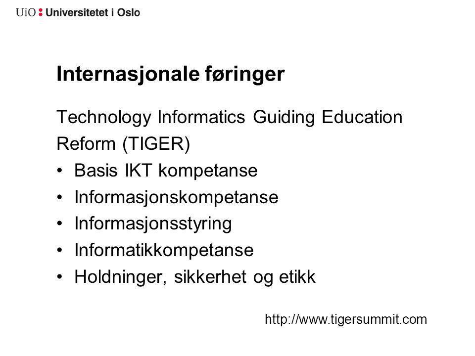 Internasjonale føringer Technology Informatics Guiding Education Reform (TIGER) Basis IKT kompetanse Informasjonskompetanse Informasjonsstyring Inform