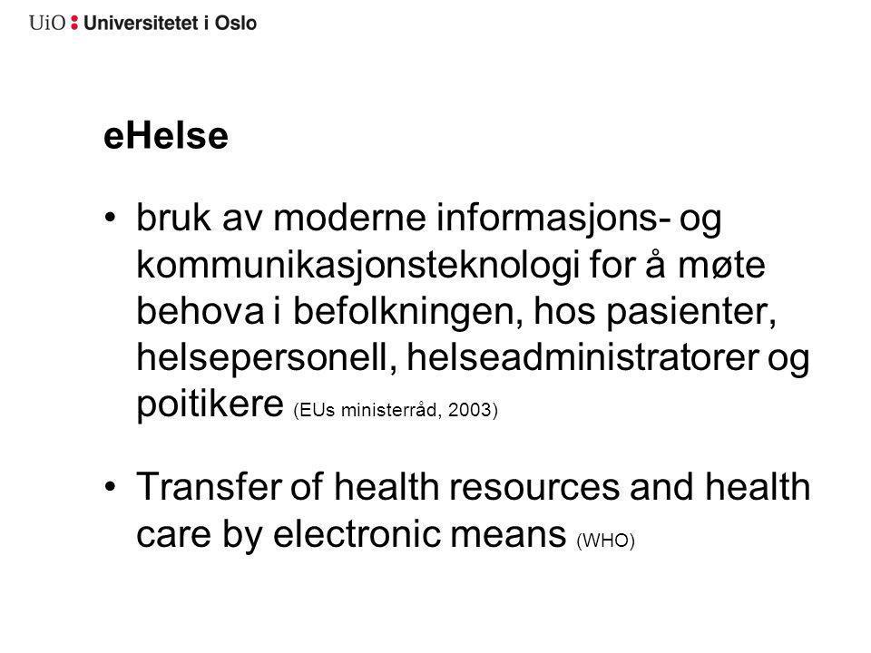 eHelse bruk av moderne informasjons- og kommunikasjonsteknologi for å møte behova i befolkningen, hos pasienter, helsepersonell, helseadministratorer