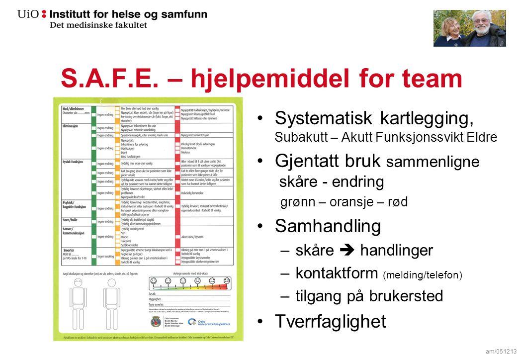 S.A.F.E. – hjelpemiddel for team Systematisk kartlegging, Subakutt – Akutt Funksjonssvikt Eldre Gjentatt bruk sammenligne skåre - endring grønn – oran