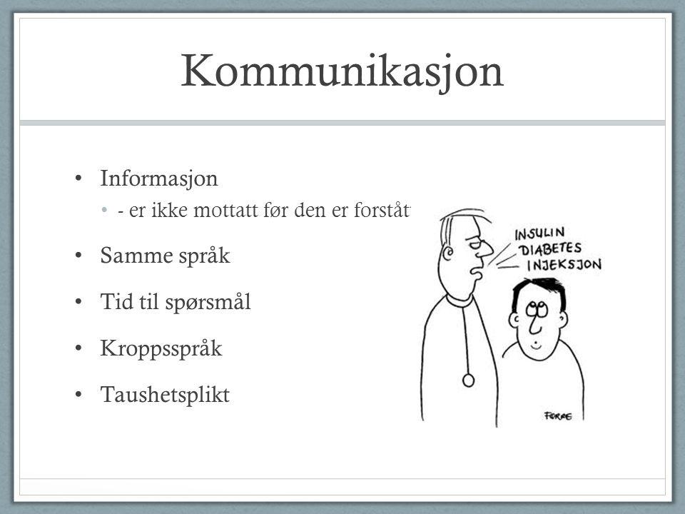 Kommunikasjon Informasjon - er ikke mottatt før den er forstått Samme språk Tid til spørsmål Kroppsspråk Taushetsplikt