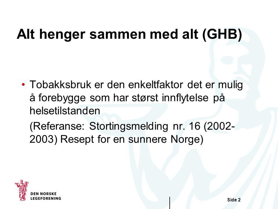 Side 3 Sosiale ulikheter i helse i Norge: Dødeligheten synker med økende inntekt for både menn og kvinner Kosthold: Lavest sosioøkonomisk status har generelt et helsemessig dårligere kosthold (frukt, grønt, sammalt mel etc) Tobakk: Lavest sosioøkonomisk status debuterer tidligere, har høyere røykeintensitet, bruker de mest skadelidende tobakksproduktene, større aksept for passiv røyking