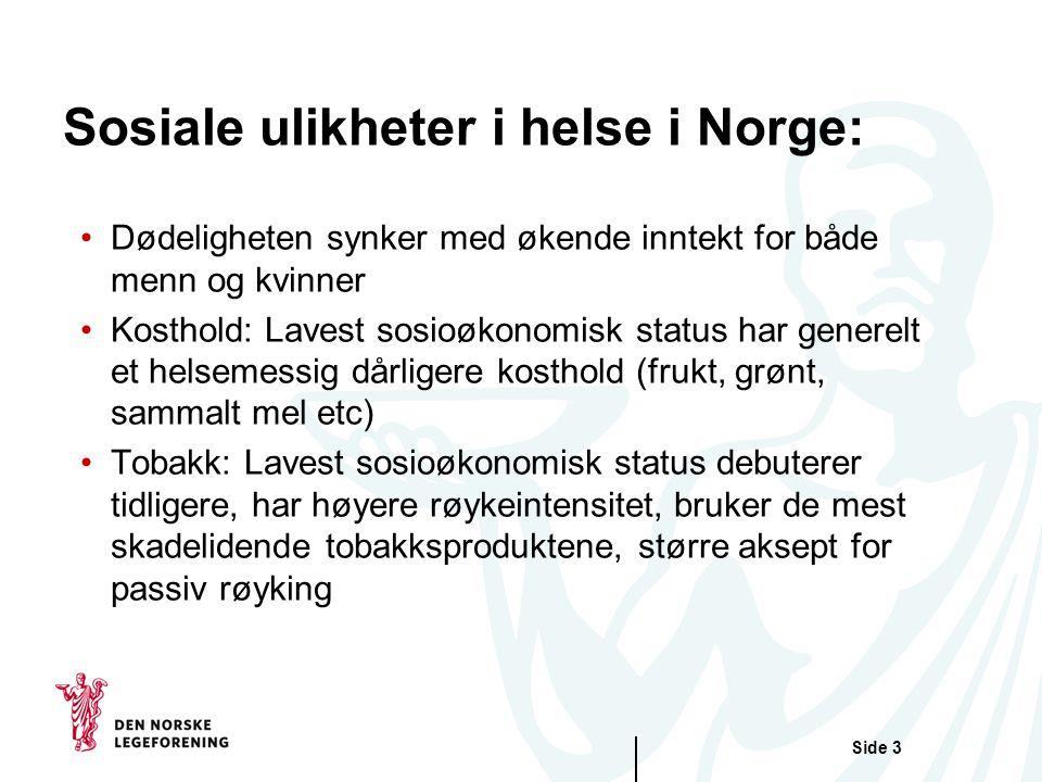 Side 3 Sosiale ulikheter i helse i Norge: Dødeligheten synker med økende inntekt for både menn og kvinner Kosthold: Lavest sosioøkonomisk status har g