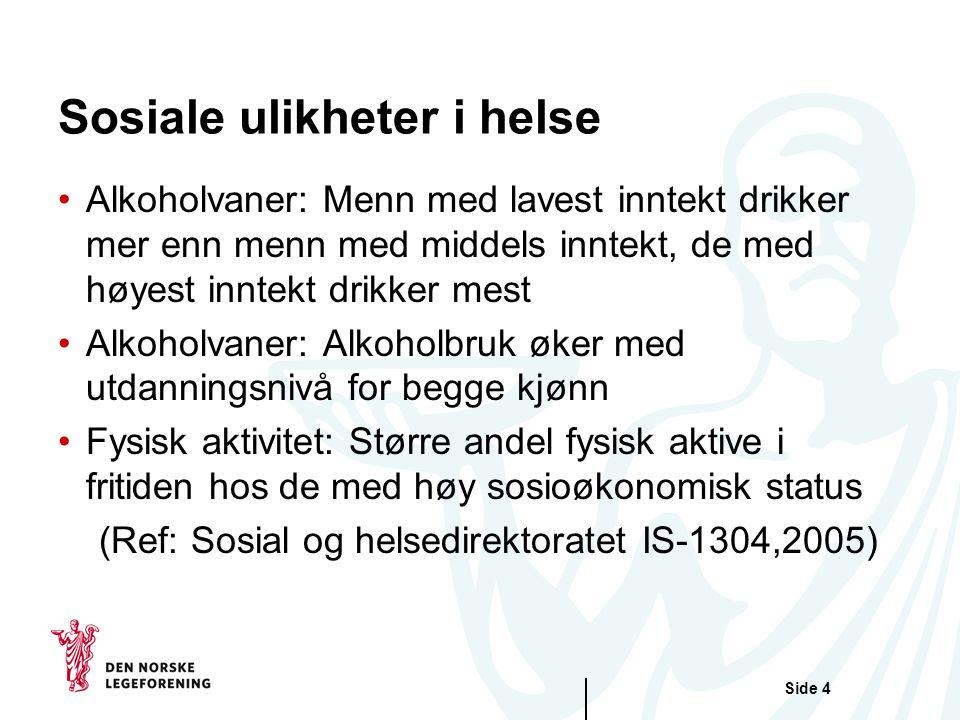 Side 4 Sosiale ulikheter i helse Alkoholvaner: Menn med lavest inntekt drikker mer enn menn med middels inntekt, de med høyest inntekt drikker mest Al