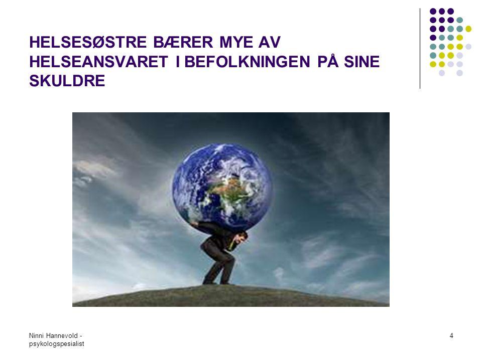 Ninni Hannevold - psykologspesialist 5 STATLIGE FØRINGER, ÅRSMØTER, SAMHANDLINGSREFORM, STADIG NYE OPPGAVER SOM BLIR LAGT PÅ,FØLGE OPP ASYLSØKERE, FØLGE OPP PREMATURE, ANSVAR FOR PSYKISK OG FYSISK HELSE FRA SVANGERSKAP TIL VIDEREGÅENDE SKOLE, HJEMMEBESØK, KARTLEGGINGSVERKTØY, KVIK, MARTEMEO, UNDERVISE I SKOLEHELSETJENESTEN, KOORDINERINGSANSVAR, RIKTIG HJELP TIL RIKTIG TID, TYDELIGGJØRE VANSKELIG TING, VAKSINASJONSPROGRAM, PREVANSJONSVEILEDNING, ME-UTBRENTHET, KRAV FRA FORELDRE, KRAV FRA ANDRE SAMARBEIDSPARTNERE, DEPRIMERTE MØDRE, SPEDBARNSKONTROLL, HA ET DOKUMENTERT TILBUD TIL BEFOLKNINGEN, KRAV TIL DOKUMENTASJON, REGISTRERING OSV…OSV…