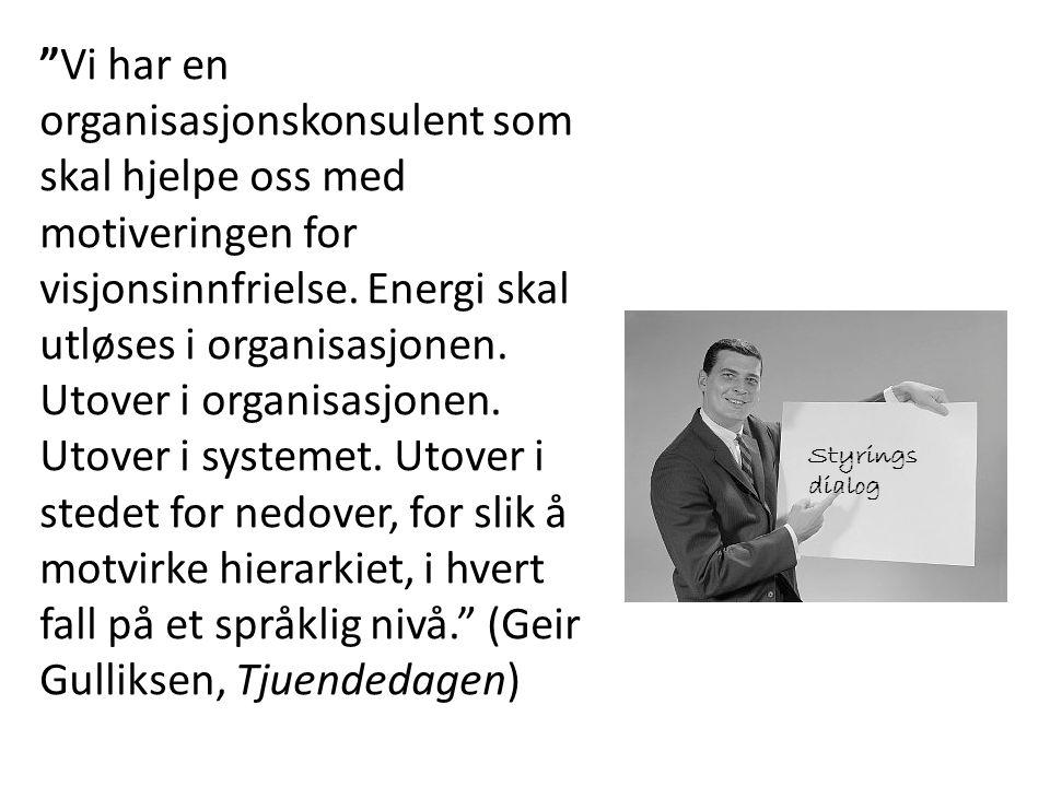 """""""Vi har en organisasjonskonsulent som skal hjelpe oss med motiveringen for visjonsinnfrielse. Energi skal utløses i organisasjonen. Utover i organisas"""
