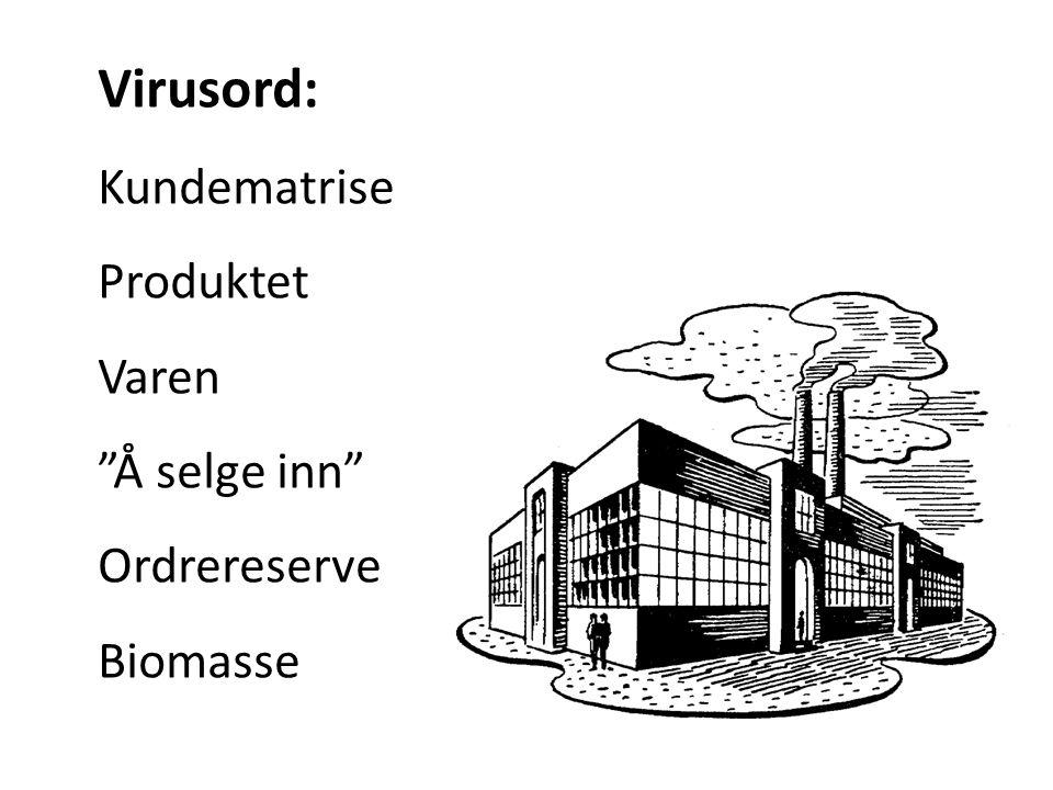 """Virusord: Kundematrise Produktet Varen """"Å selge inn"""" Ordrereserve Biomasse"""