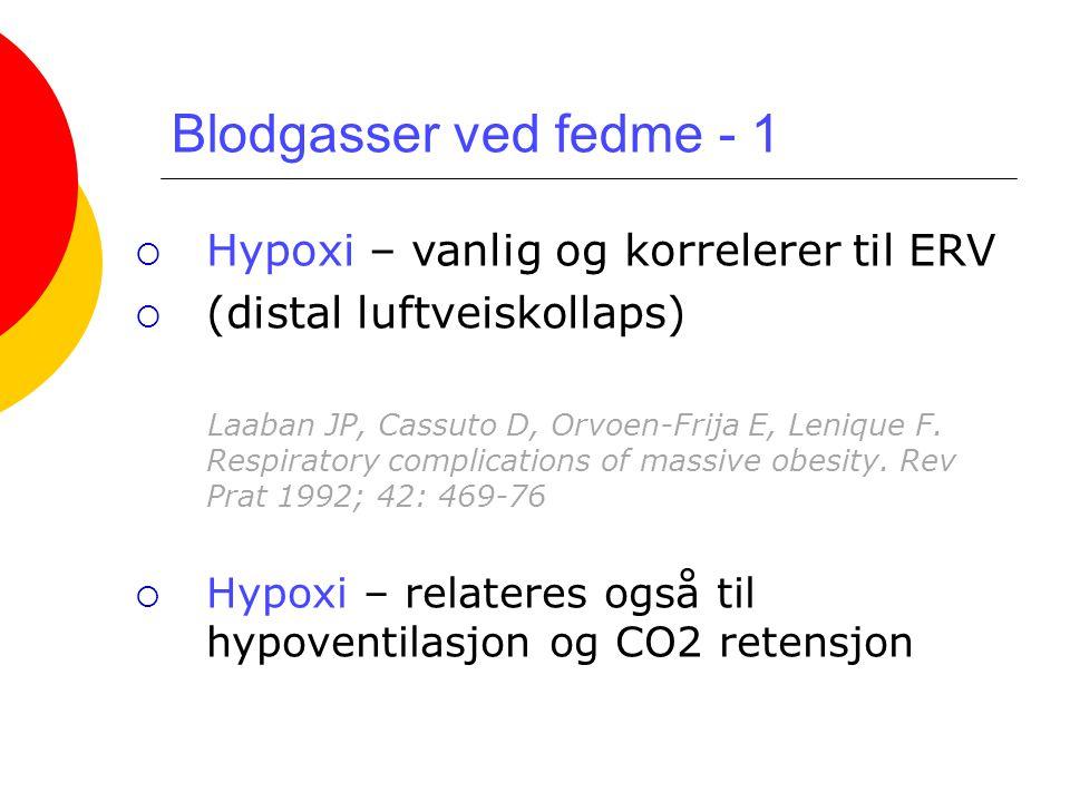 Blodgasser ved fedme - 1  Hypoxi – vanlig og korrelerer til ERV  (distal luftveiskollaps) Laaban JP, Cassuto D, Orvoen-Frija E, Lenique F. Respirato