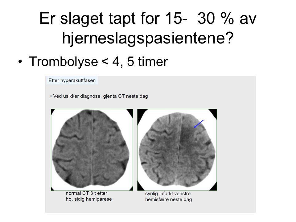 Er slaget tapt for 15- 30 % av hjerneslagspasientene? Trombolyse < 4, 5 timer