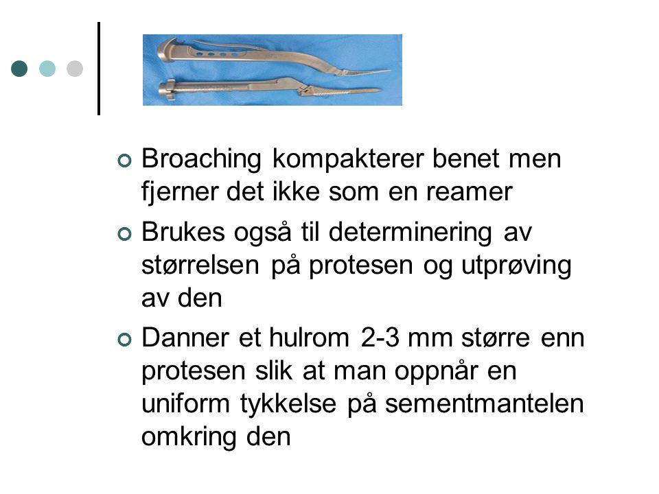 Broaching kompakterer benet men fjerner det ikke som en reamer Brukes også til determinering av størrelsen på protesen og utprøving av den Danner et h