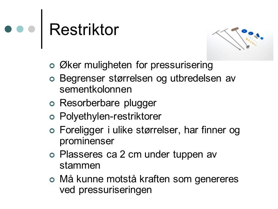 Restriktor Øker muligheten for pressurisering Begrenser størrelsen og utbredelsen av sementkolonnen Resorberbare plugger Polyethylen-restriktorer Fore