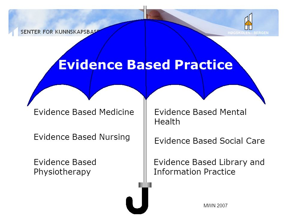 MWN 2007 Evidence Based Practice Evidence Based Medicine Evidence Based Nursing Evidence Based Physiotherapy Evidence Based Mental Health Evidence Based Social Care Evidence Based Library and Information Practice