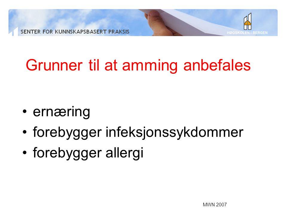 MWN 2007 Grunner til at amming anbefales ernæring forebygger infeksjonssykdommer forebygger allergi