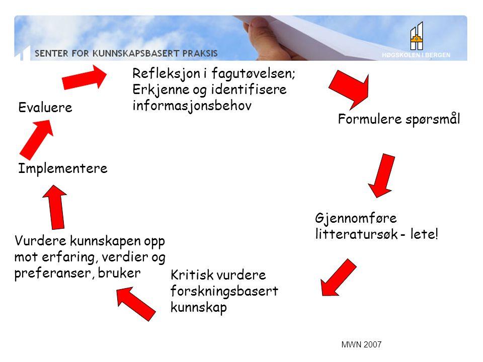 MWN 2007 Refleksjon i fagutøvelsen; Erkjenne og identifisere informasjonsbehov Formulere spørsmål Gjennomføre litteratursøk - lete.
